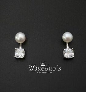 925 Sterling Silver Pearl & Square Zircon Stud Earrings Front & Back Earrings