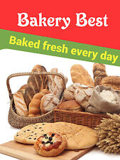 Bakery Best Baked Fresh Business Retail Display Sign 18w X 24h Full Color