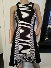 Karen Millen Bandage Wiggle Black White Galaxy Geometric Futuristic Dress XS 0