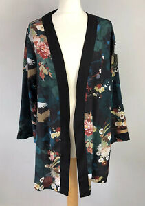 RED HERRING Size 16 Kimono Silky Japanese Black Green Angel ETTC Ladies Summer