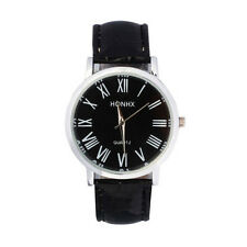 Business Roman Numerals Classic Dial Faux Leather Mens Black Wrist Watch