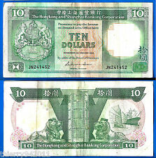 Hong Kong 10 Dollars 1986 Prefix JN Lion Boat Free Shipping Worldwide