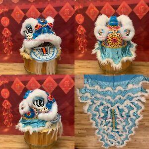 Chinese Foshan Lion Dance Mascot Costume Two Children (Blue With White Sheep Fur