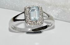 9ct White Gold Aquamarine & Diamond Ladies ring - size M
