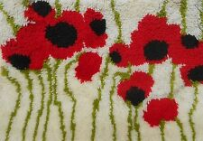 "Latch Hook Rug Poppies Red Green White Approx. 19"" x 26"" Hand Latched Vintage"