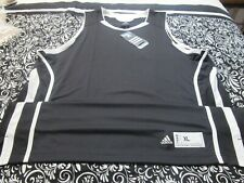 "Nwt ""Adidas"" Climalite Basketball Jersey Black W/White Trim Mens Xl ~T2335"