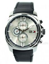 BRAND NEW TOMMY HILFIGER 1790833 BLACK LEATHER STRAP SILVER CHRONO MEN'S WATCH