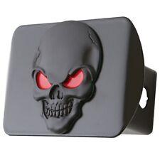 "100% Metal Skull 3D Emblem Trailer Hitch Cover Fits 2"" Receivers (Black Red o..."