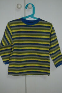"MARESE T.shirt rayé bleu,jaune,gris et kaki 4 ans ""vintage"""