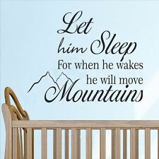 Huhome PVC Wall Stickers Wallpaper English him sleep two mountain baby nursery