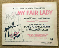 MY FAIR LADY - Loewe & Lerner: 4 Songs for Easy Piano 16 Pages 1956 Music Clean