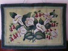 VINTAGE 1960s WALL HANGING HAND NEEDLEWORK TAPESTRY LILIUM LILY & FUCHSIA