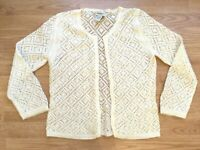 Banana Republic Women's Cardigan Size S Ivory Mohair Blend Open Front Sequin