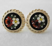 ESTATE Vintage Micro Mosaic Glass Screw Earrings - Black w/ Red & White Flowers