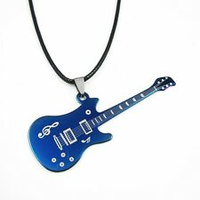 Fashion Men's Stainless Steel Blue Guitar Pendant Leather Cord Necklace Punk