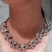 JT_ Women Natty Luxury Crowd Clear Rhinestone Flower Bronze Choker Bib Necklac