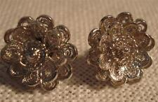 VanLou Sterling ear studs flower feligree Marked Vanlou