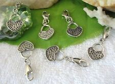 25PCS Tibetan Silver heart handbag CLIP ON CHARMS W28479