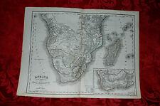 Antica Carta Geografica Mappa Acquerellata Africa e Madagascar 1860 Stab Civelli