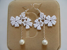 Vintage Gothic Victorian White Lace Wedding Flowersl Pearl Dangle/Drop Earrings