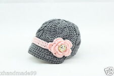 Newborn Baby Girl knit hat crochet flower gold buttons 6-12 month Photo Prop