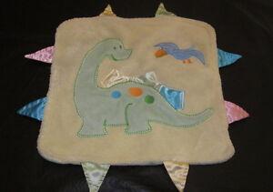 Blankets  Beyond Yellow Green Mini Blanket Dino Dinosaur Satin Tags Baby Lovey