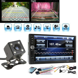 """7"""" 2Din Touch Screen FM Bluetooth Radio Audio Stereo Car Video Player +HD Camera"""