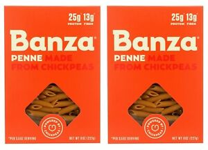 Lot of 2 Banza Penne Pasta Made From Chickpeas 8oz Each = 16oz Total BB 8/21