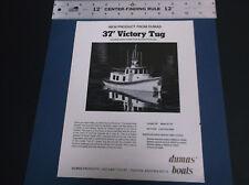 VINTAGE  DUMAS R/C MODEL BOAT 37' VICTORY TUG BROCHURE   *G-COND*