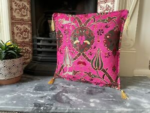 Bright Pink Tulip Patterned Chenille Cushion Cover, Floral Throw Pillow, 40x40cm