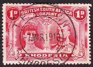 Rhodesia 1910 1d P14 - NEAR COMPLETE UPRIGHT TPO DOWN DC -PLATE FLAWS AT BASE