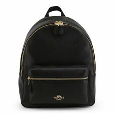 NWT COACH Medium Charlie Backpack Leather Classic Laptop Black Gold F30550 IMBLK