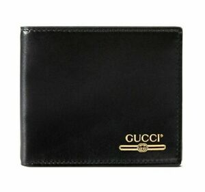 Gucci Signature Black Leather Gold Logo Print Credit Card Holder Bifold Wallet