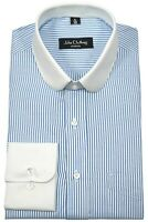 Peaky Blinders Mens Penny Collar shirt Blue White stripes Club Round Shelby Gent