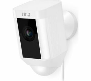 Ring Spotlight Cam Wired White, HD Security Camera with LED Spotlight and Alarm