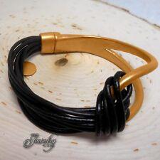 """Brown Leather Matte-Gold Hook 6"""" Alloy Bracelet"""