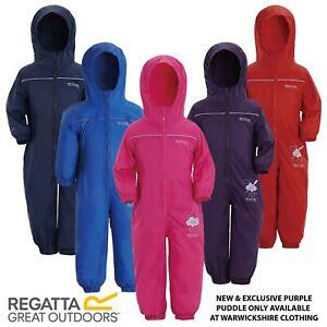REGATTA CHILDRENS PUDDLE IV BOYS GIRLS WATERPROOF ALL IN ONE KIDS RAIN SUIT