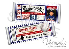 Baseball Candy Bar Wrappers - Child or Adult Birthday - Set of 12