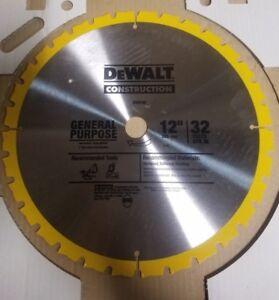 "DEWALT DW3123 12"" x 32 Tooth ATB Construction Grade Carbide Miter Saw Blade"