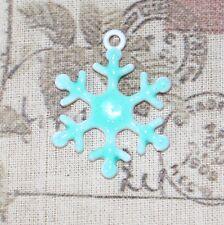 4x Esmalte de brillo Copo De Nieve Charms/Colgantes 25 mm
