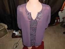 Angie Purple Sheer 1/2 Sleeve Scoop Neck Top Blouse Size Large