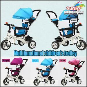 4 In 1 Tricycle Bike Ride-On Toy Trike Baby Prams Kids Stroller Toddler Gift AU