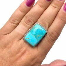 Kingman Turquoise Stone Ring 925 Sterling Silver Sz 10