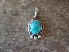 Small Navajo Indian Sterling Silver Turquoise Pendant by Jan Mariano