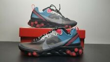 Nike React Element 87 Grey Solar Red Blue Chill AQ1090-006 Running Shoes Men's