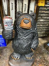 """BEER BEAR Chainsaw Carving BLACK WALNUT Wood 24"""" Tall BLACK BEAR Statue UNIQUE!"""