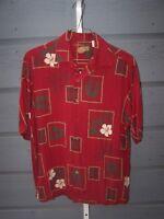 Caribbean Mens Short Sleeve Shirt Tropical Silk Rayon Bamboo blend Size Medium