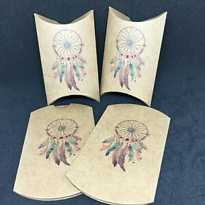 """20 KRAFT DREAM CATCHER Pillow Boxes; 2""""L x 3"""" W - For Candy Gifts Wedding Baby"""