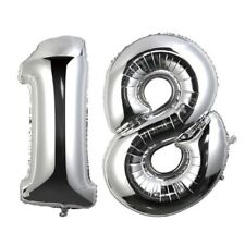 "40"" Large Happy 18 Silver Number Balloons 18th Birthday Anniversary Foil Float"