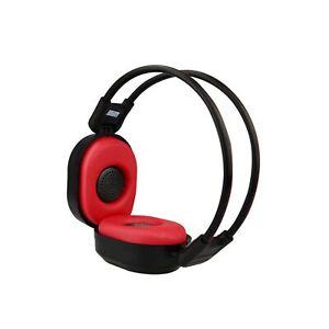 PIXNOR Foldable Wireless Headphone Portable FM Stereo Headset Radio (Black Red)